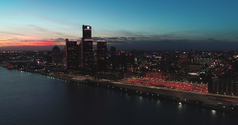Detroit Skyline Michigan at sunset aeria