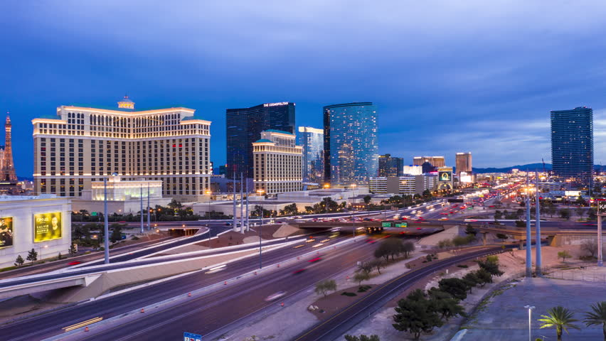Las Vegas, Nevada/USA - March 30, 2019:  Aerial Time Lapse of The Las Vegas Strip at Dusk. | Shutterstock HD Video #1028346992