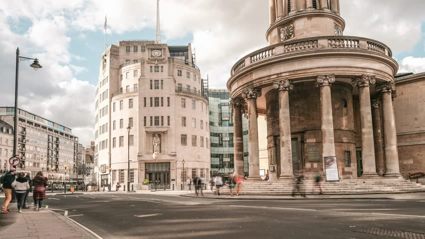 LONDON- APRIL, 2019: Time lapse of BBC's Broadcasting House on Portland Place, London's West End- A world renowned British public services broadcaster