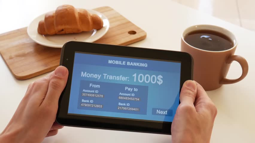 A person makes a transfer using the Internet bank on his tablet. POV view. Blue custom interface design. The interface is not real. Information fictional. | Shutterstock HD Video #1028362757