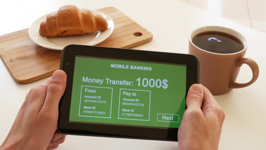 A person makes a transfer using the Internet bank on his tablet. POV view. Green custom interface design. The interface is not real. Information fictional. | Shutterstock HD Video #1028362769