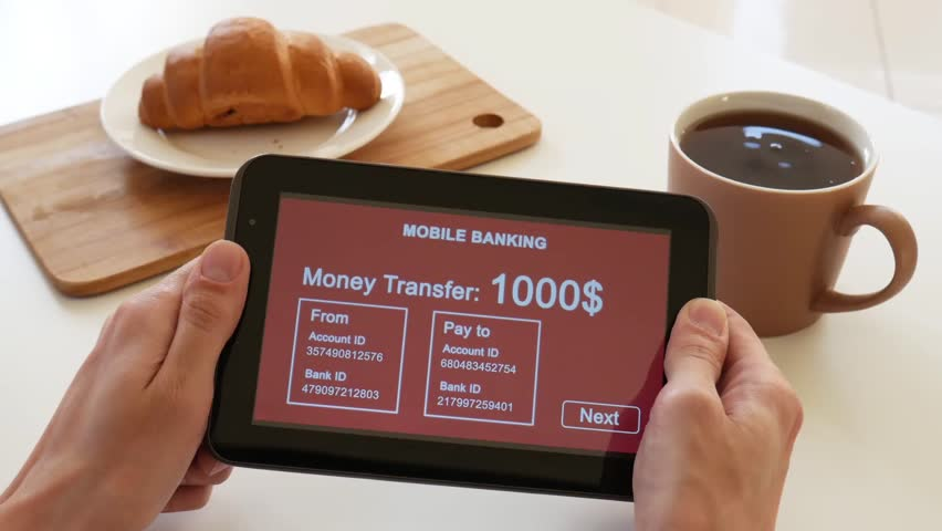 A person makes a transfer using the Internet bank on his tablet. POV view. Red custom interface design. The interface is not real. Information fictional. | Shutterstock HD Video #1028362778