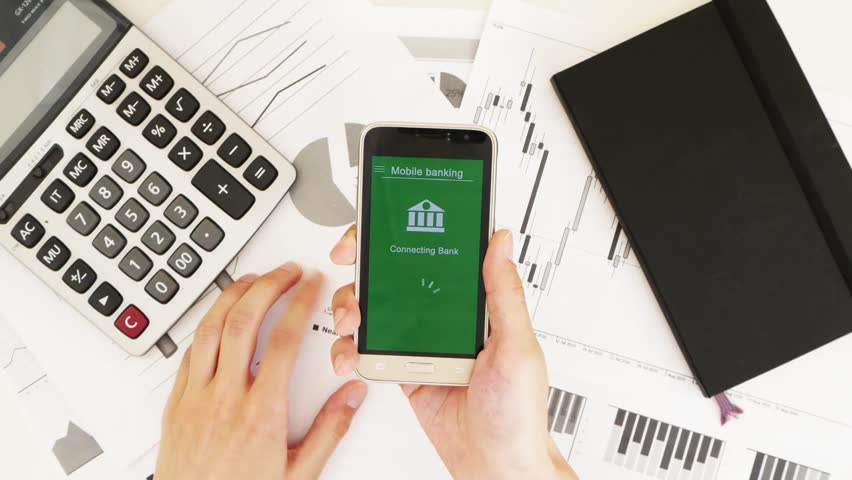 Businessman trying to enter the online bank. Some problems with online banking. Top view. Custom green interface design | Shutterstock HD Video #1028363024