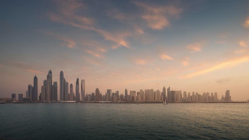 Timelapse of skyscrapers in Dubai Marina, sunset time, UAE   Shutterstock HD Video #1028382053