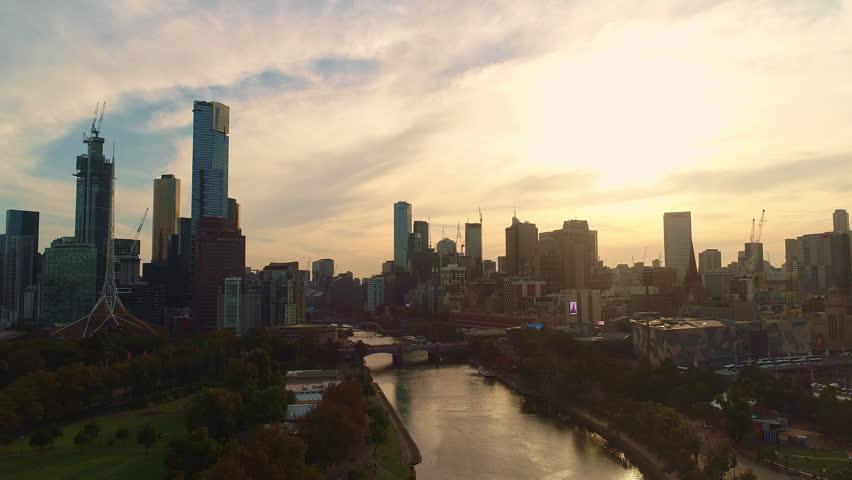 Melbourne City Aerial Sunset Evening 4K   Shutterstock HD Video #1028420375