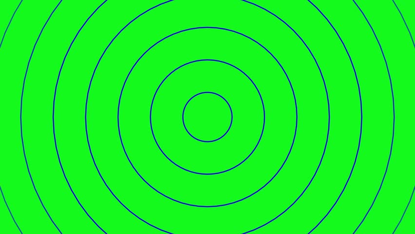 Concentric blue rings moving on the green screen. Radio waves, radar or sonar animation. | Shutterstock HD Video #1028432324