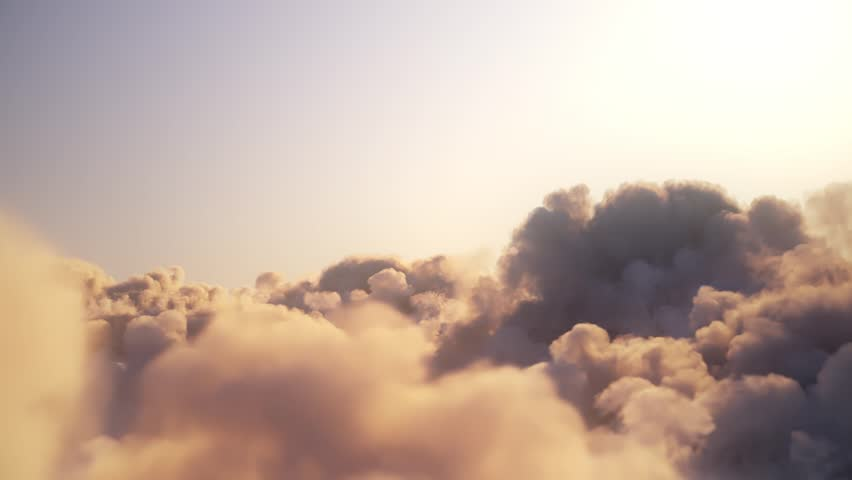Flying over the clouds with the late sun - looping with alpha mask Royalty-Free Stock Footage #1028445734