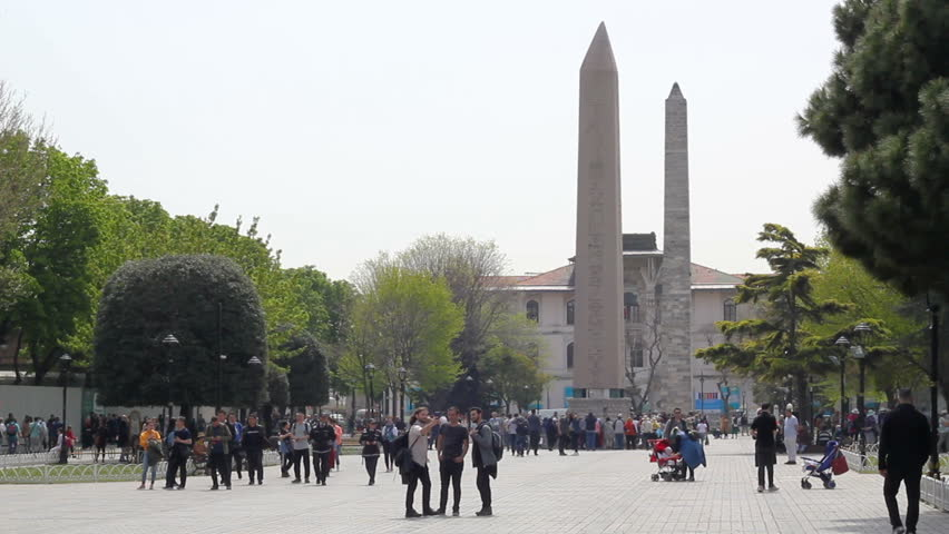 Sultanahmet, Istanbul / Turkey - April 25 2019: Istanbul's populer travel and touristic destination of Sultanahmet Square and Egyptian Obelisk Monument | Shutterstock HD Video #1028455745