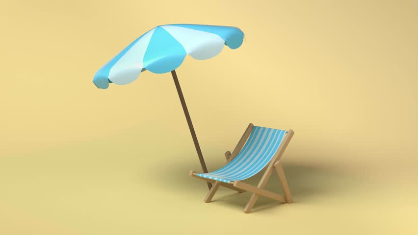 Blue white umbrella beach and chair 3d rendering abstract nature beach sea travel vacation concept