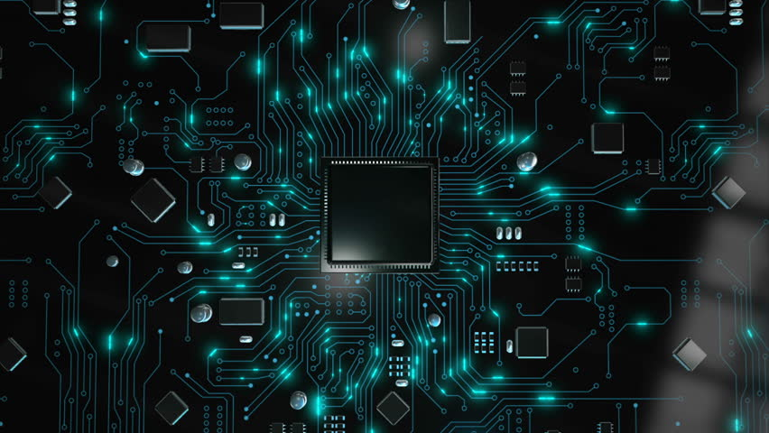 3D Render animation of AI Artificial intelligence in CPU chipset central processor unit and electric print circuit board with data traffic light on dark and grain processed Royalty-Free Stock Footage #1028465405