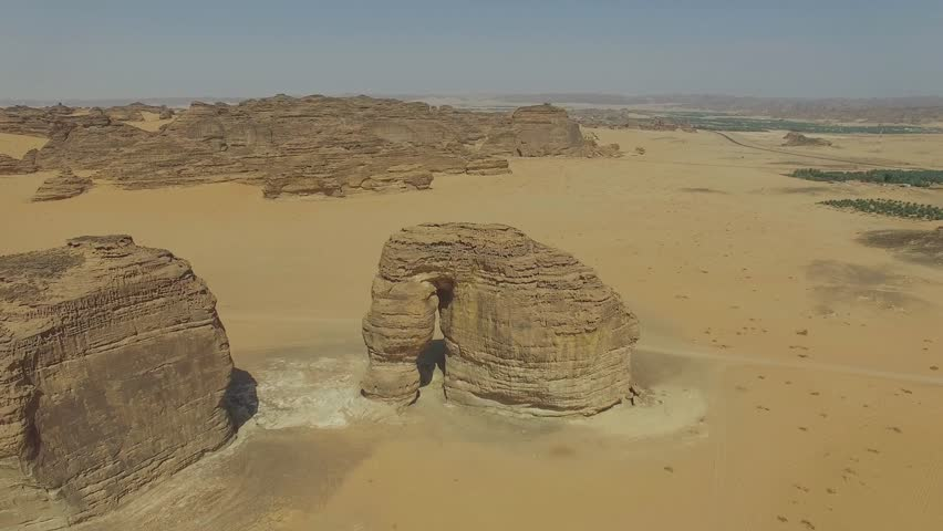 Aerial drone footage of Elephant Rock in Saudi Arabia