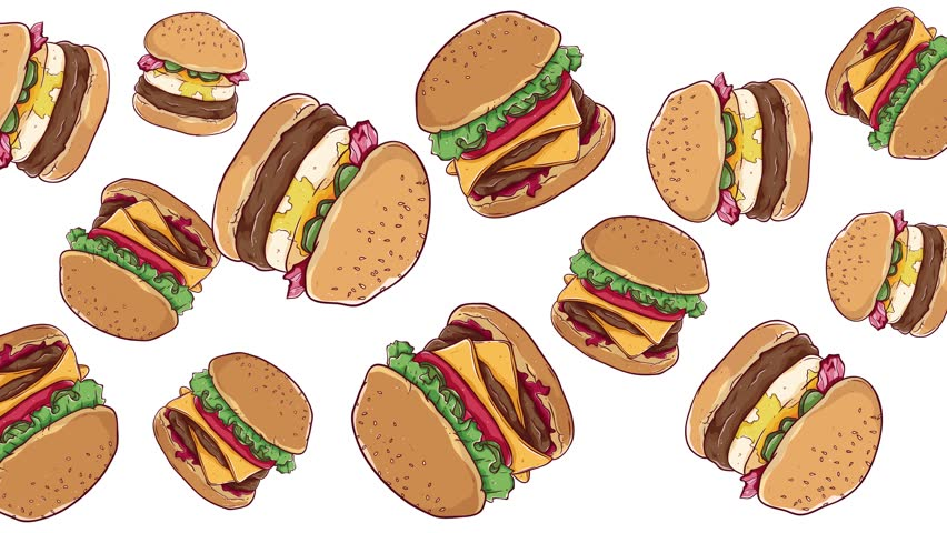Tasty Burger Falling Down Seamless Loop Animation - Rotating Hamburger Motion Graphic | Shutterstock HD Video #1028494049