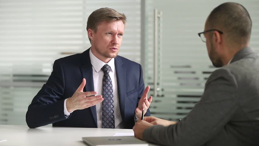 Confident businessman in suit investment advisor broker or bank manager consulting client customer about insurance loan services handshake partner make deal shake hands at office business meeting Royalty-Free Stock Footage #1028495339