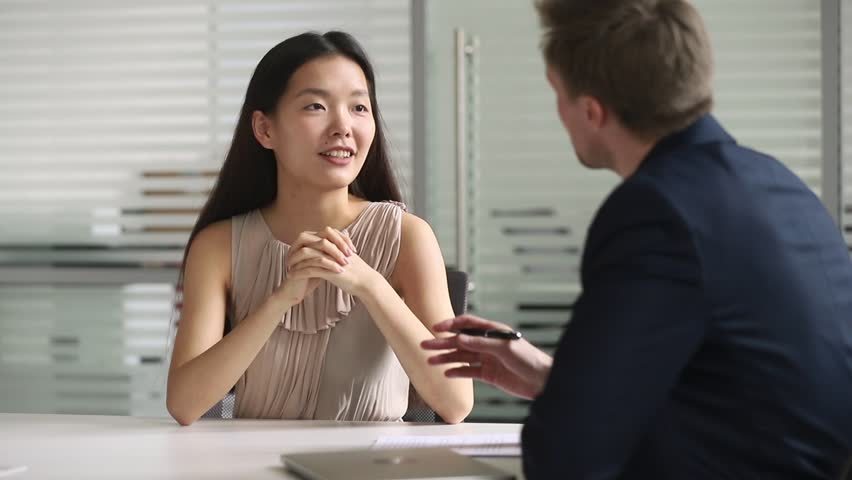 Happy asian job candidate or agent advisor handshake hr get hired at interview or make business deal with client, smiling manager shake hand employ client, recruiting and services advice concept Royalty-Free Stock Footage #1028495342