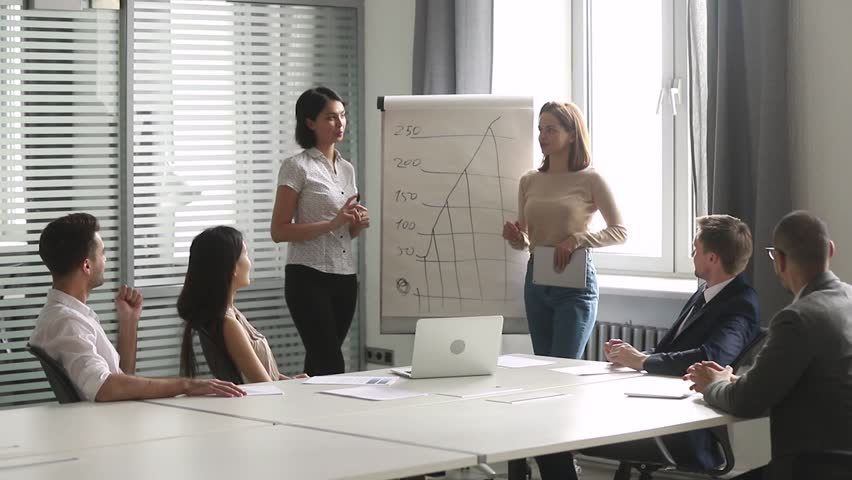 Two diverse female speakers coaches give business presentation on flip chart at corporate training in boardroom, professional team consult clients instruct workers group in teamwork at office meeting Royalty-Free Stock Footage #1028495387