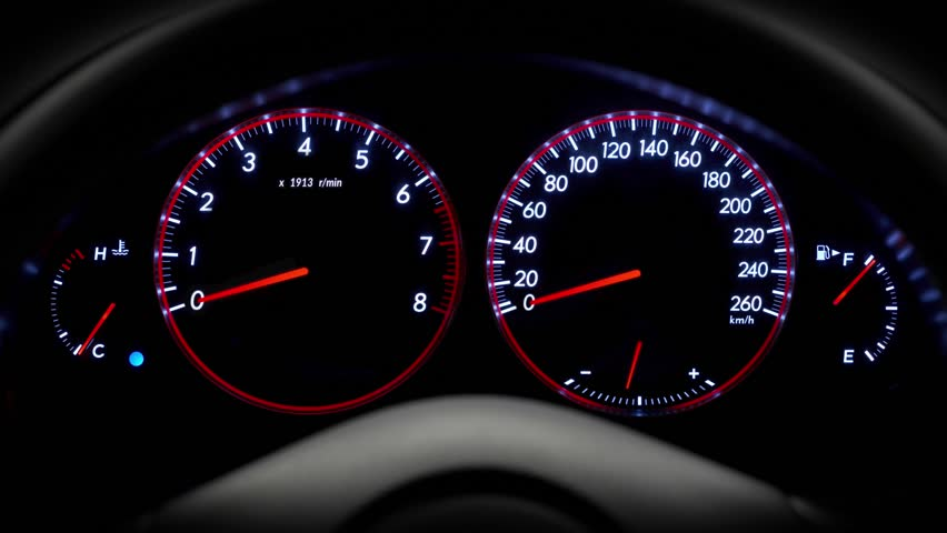 The car's speedometer is rapidly approaching a maximum value of 260 km / h. The car is not under control. The sensors are broken, the tachometer needle moves fast | Shutterstock HD Video #1028526755