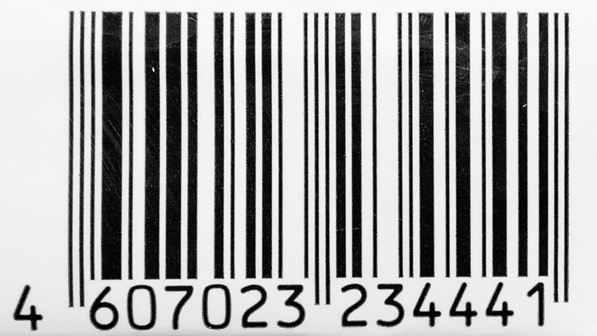 Barcode scanner. Barcode chaos. Animated background. Sequence of fast changing labels digits as looping retail animation.