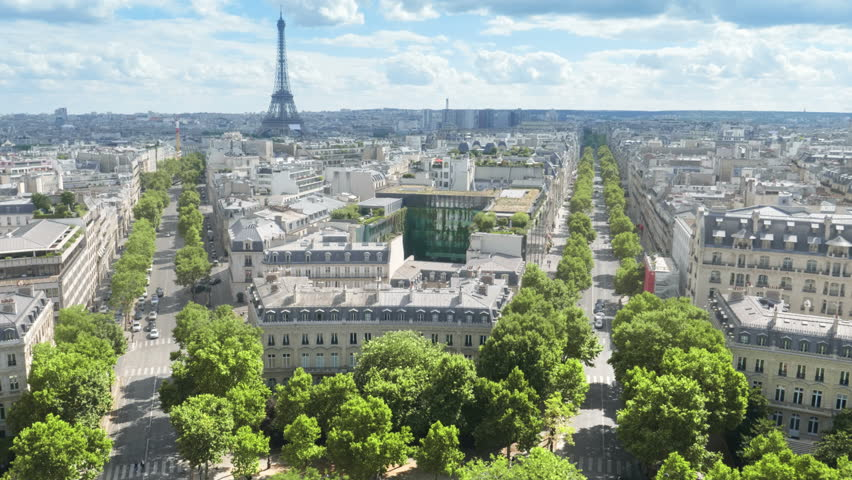Panoramic view of Paris, Champs Elysees and the Eiffel Tower | Shutterstock HD Video #1028538860