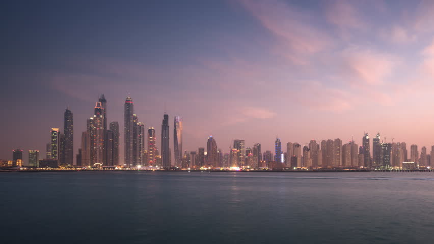 Timelapse of skyscrapers in Dubai Marina, sunset time, UAE   Shutterstock HD Video #1028540222