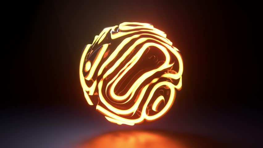 Glowing neon light sphere. Abstract background with futuristic shiny surface. Motion design template. 3d shape with strobing curly pattern. 3d loop animation. Seamless dynamic composition. 4K UHD
