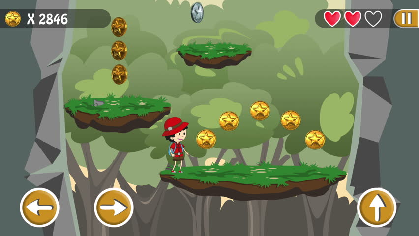 Fake Video Game Jumping Scout For Smartphone With Interface And Buttons. Specially Painted And Animated.