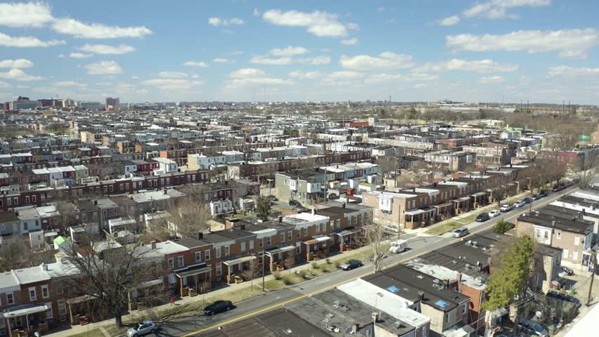 Baltimore Row Homes Neighborhood Aerial Fly Over, Blue Sky with Clouds