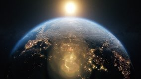 Planet earth from space. Beautiful sunrise world skyline. Planet earth rotating animation. Clip contains space, planet, galaxy, stars, cosmos, sea, earth, sunset, globe. 4k 3D Render. Images from NASA