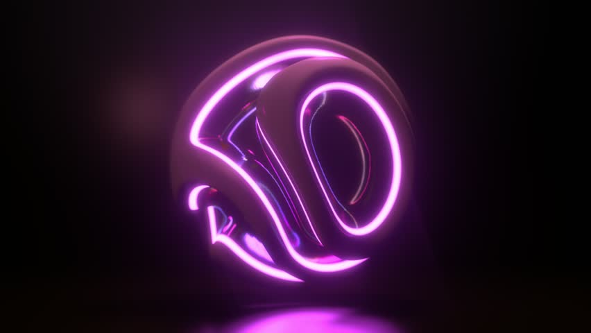 Glowing neon light sphere. Abstract background with futuristic ultraviolet wavy ripples. Motion design template. 3d shape with strobing curly pattern. 3d loop animation. Dynamic composition. 4K UHD | Shutterstock HD Video #1028577359