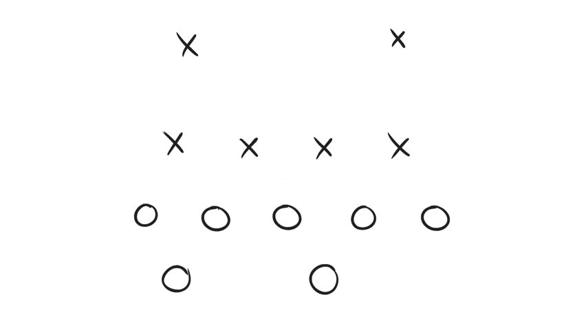 2d Animation motion graphics drawing of an American football game plan diagram of Xs and Os offensive strategy on white and green screen with alpha matte in HD high definition.