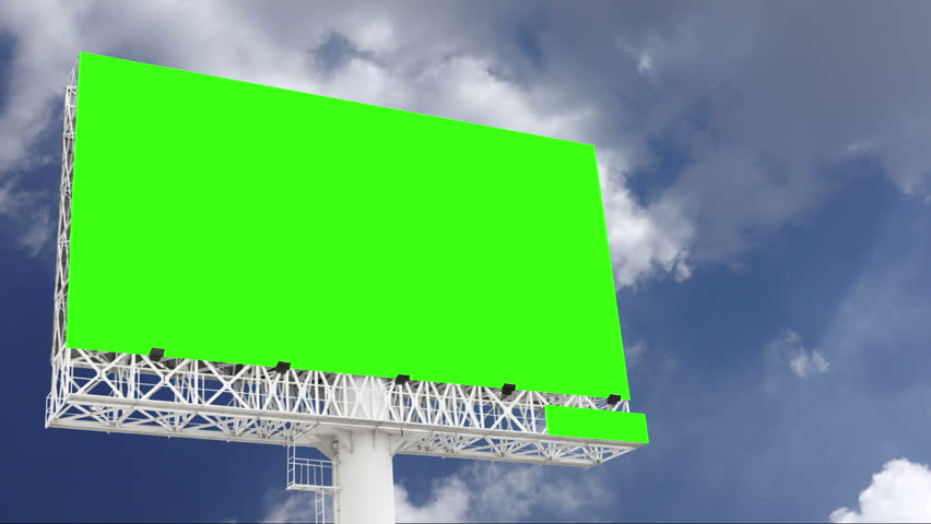 Advertising billboard green screen with blue sky and white cloud, timelapse | Shutterstock HD Video #1028595095