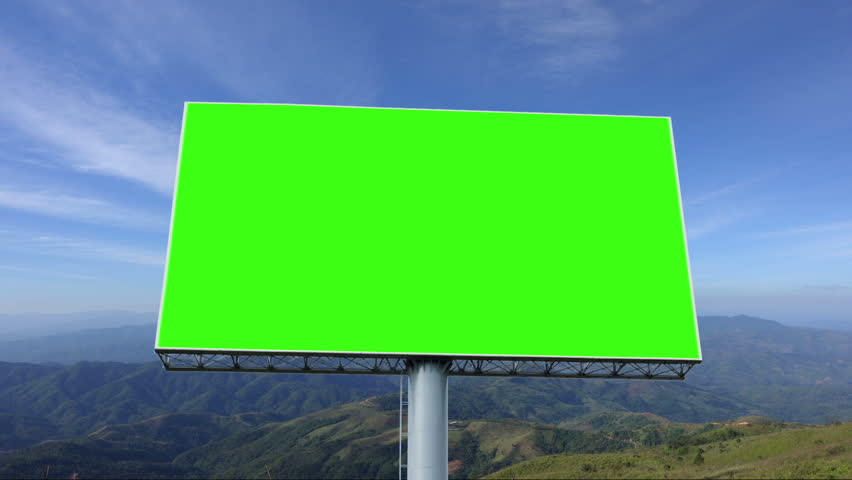 Advertising billboard green screen with blue sky and white cloud, timelapse | Shutterstock HD Video #1028595101