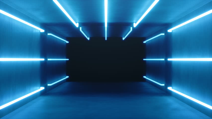Looped 3D animation, seamless abstract blue room interior with blue glowing neon lamps, fluorescent lamps. Futuristic architecture background. Box with concrete wall. Mock-up for your design project #1028595776