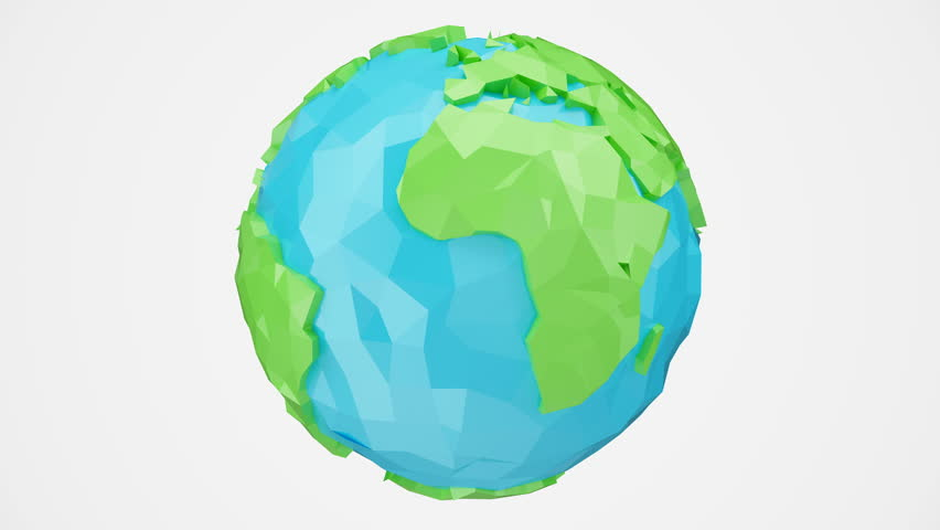 3D animation rotated low poly earth with alpha channel, globe illustration. Polygonal globe isolated on white background, low poly style animation. Rotating earth. Loop-able seamless 4K animation