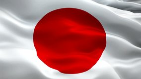 Japan flag Motion Loop video waving in wind. Realistic Japanese Flag background. Japan Flag Looping Closeup 1080p Full HD 1920X1080 footage. Japan EU European country flags footage video for film,news