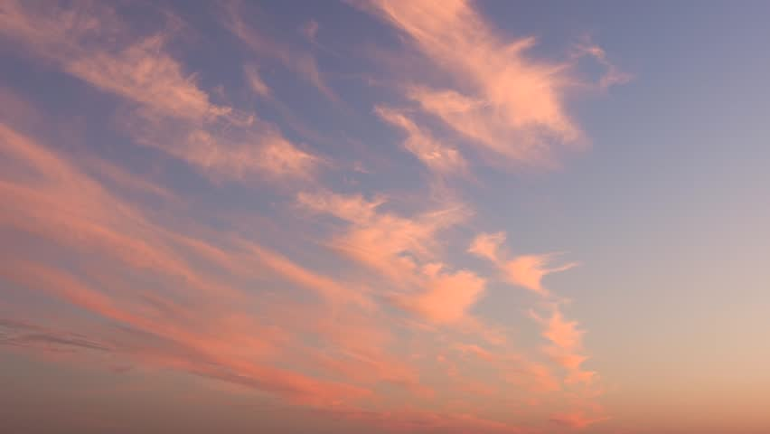 Pink Cirrus Clouds Float Across The Sky During A Call In The Summer. Concept Of A Warm Summer Romantic Weekend | Shutterstock HD Video #1028610722