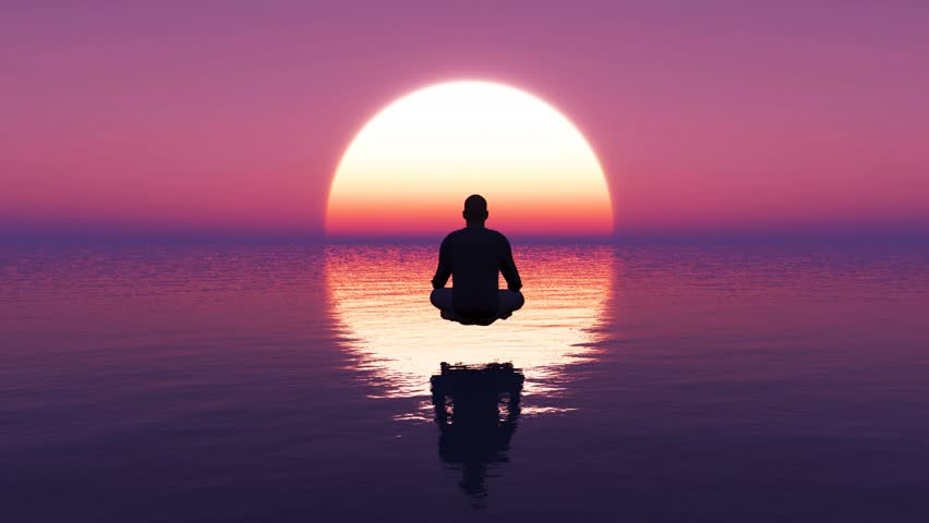 3D render of a young man sitting in deep meditation.Yoga meditation by A man on the ocean at sunrise with purple and cyan color, 3D Rendering, Perfect for cinema, Seamlessly looped animation.
