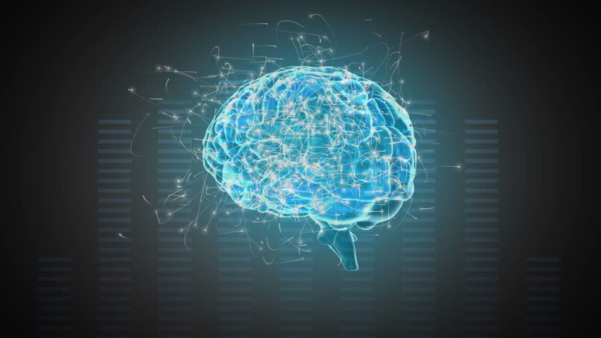 Digital animation of a rotating blue brain with surrounding particles on a moving frequency bars background | Shutterstock HD Video #1028629709