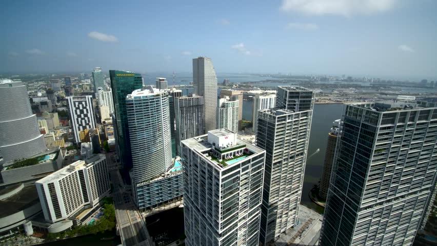 Miami, CA / USA - April 28, 2016: Miami Beach Florida City Buildings & Skyline, Hotels & Skyscrapers by Aerial Drone | Shutterstock HD Video #1028634827