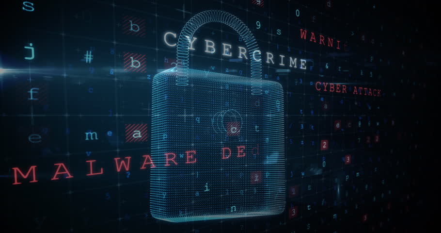 A 3d graphic view of cyber security lock that has cyber crime threats form a computer screen.  Royalty-Free Stock Footage #1028637770