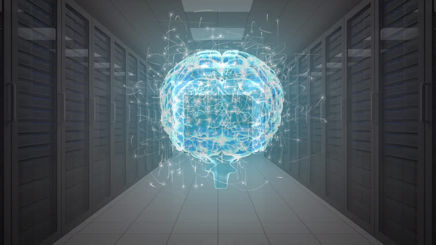 An aisle view of a digital brain with moving particles entering a series of server rooms | Shutterstock HD Video #1028637806