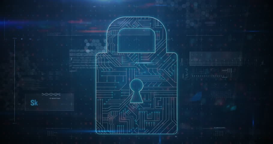 Panning view of a cyber security lock that is being decoded using a ransomware; with data encryption and coding concept as background Royalty-Free Stock Footage #1028637866