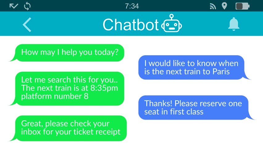 Chatbot at work.Messaging app animation with text bubbles simulating a real chat between users. Royalty-Free Stock Footage #1028645819