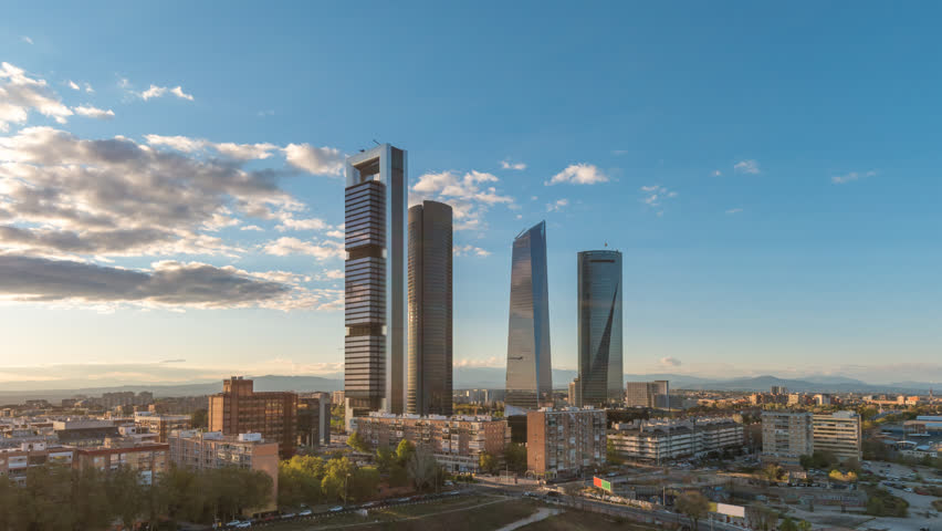 Madrid Spain time lapse 4K, city skyline timelapse at financial district four towers | Shutterstock HD Video #1028663147