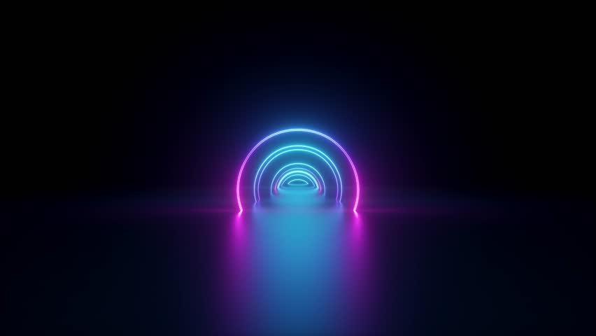 3d render, flight inside tunnel, neon light abstract background, round arcade, portal, rings, circles, virtual reality, ultraviolet spectrum, laser show, fashion podium, stage, floor reflection | Shutterstock HD Video #1028669228