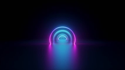 3d render, flight inside tunnel, neon light abstract background, round arcade, portal, rings, circles, virtual reality, ultraviolet spectrum, laser show, fashion podium, stage, floor reflection