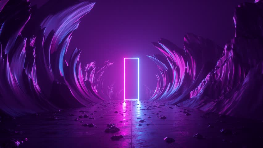 3d abstract background, neon light, extraterrestrial landscape scene, meteor shower, falling stars, flight forward through corridor of rocks, virtual reality, outer space, speed of light, fireworks