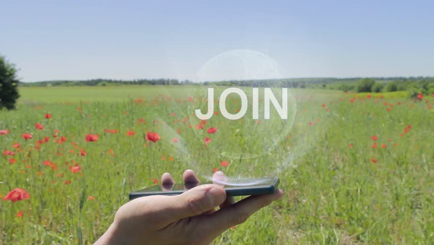 Hologram of Join on a smartphone. Person activates holographic image on the phone screen on the field with blooming poppies | Shutterstock HD Video #1028676959
