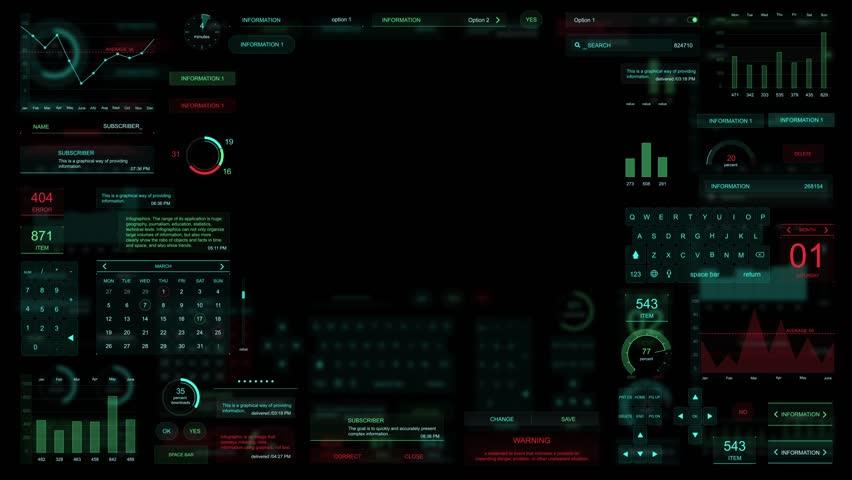 HUD elements on the digital screen | Shutterstock HD Video #1028683370