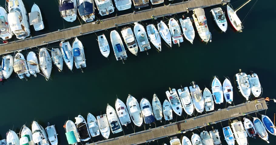 Aerial shot flying over the Port Pierre Canto in Cannes | Shutterstock HD Video #1028684915