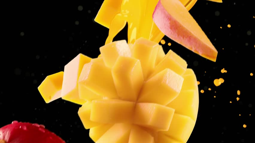 Mango with Slices Falling on Black Background. Loopable | Shutterstock HD Video #1028697554